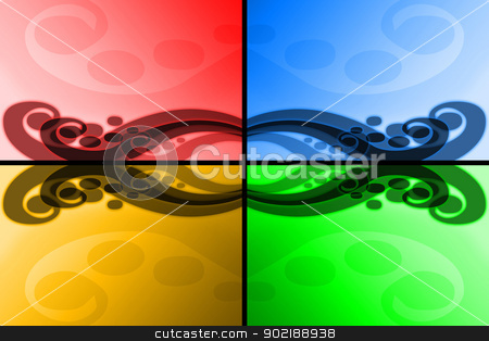 Four colours abstract waves stock photo, Abstract colorful waves forms a sweet and smooth background by Dario Rota