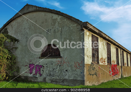 Abandoned Building stock photo, Abandoned building with broken windows and writings on the walls by Dario Rota