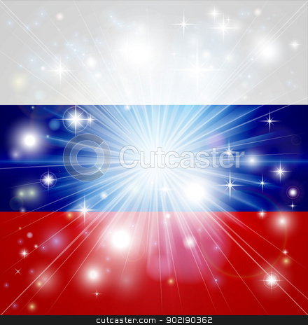 Russian flag background stock vector clipart, Flag of Russian Federation background with pyrotechnic or light burst and copy space in the centre by Christos Georghiou