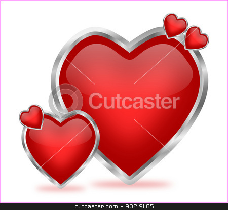 Glossy Valentine Hearts stock photo, A beautiful and artistic arrangement of shiny red hearts with silver frames, which can be used for valentine decoration   by Sidharth Thakur