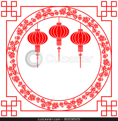 Chinese New Year Red Lantern Background stock vector clipart, Chinese Paper Cutting Lantern and Cherry Blossom by meikis