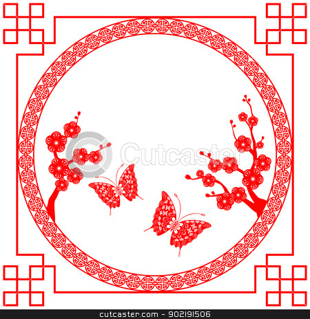 Chinese New Year greeting card stock vector clipart, Oriental style Cherry blossom with butterfly by meikis