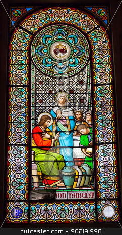 Stained Glass Window Jesus Mary Cana Monastery Montserrat stock photo, Stained Glass Window Jesus Mary Turning Water to Wine Cana Basilica Inside Monestir Monastery of Montserrat, Barcelona, Catalonia, Spain.  Founded in the 9th Century, destroyed in 1811 when French invaded Spain. Rebuilt in 1844 and now a Benedictine Monastery.  Placa de Santa Maria by William Perry