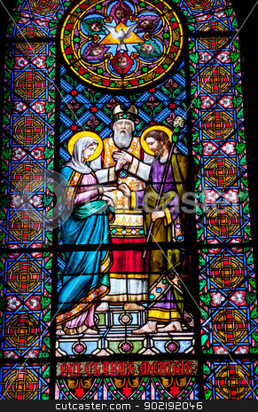 Stained Glass Mary Joseph Marriage Rabbi Monastery Montserrat stock photo, Stained Glass Mary Joseph Marriage Rabbi Basilica Inside Monestir Monastery of Montserrat, Barcelona, Catalonia, Spain.  Founded in the 9th Century, destroyed in 1811 when French invaded Spain. Rebuilt in 1844 and now a Benedictine Monastery.  Placa de Santa Maria by William Perry