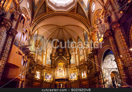 Inside Basilica Monestir Monastery of Montserrat Catalonia stock photo, Basilica Inside Monestir Monastery of Montserrat, Barcelona, Catalonia, Spain.  Founded in the 9th Century, destroyed in 1811 when French invaded Spain. Rebuilt in 1844 and now a Benedictine Monastery.  Placa de Santa Maria by William Perry