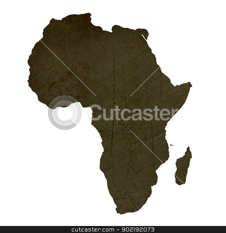 Dark silhouetted map of Africa stock photo, Dark silhouetted and textured map of African continent isolated on white background. by Martin Crowdy