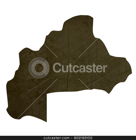 Dark silhouetted map of Burkina stock photo, Dark silhouetted and textured map of Burkina isolated on white background. by Martin Crowdy