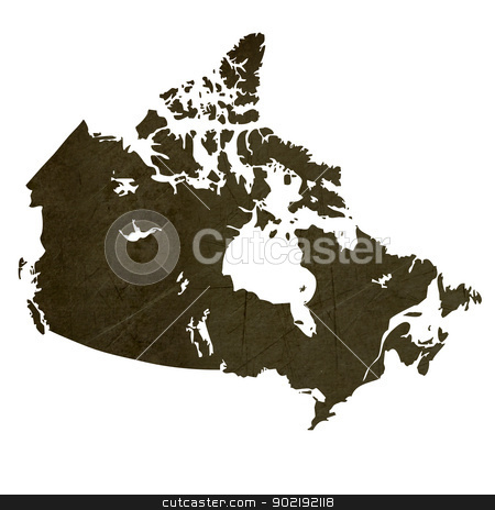 Dark silhouetted map of Canada stock photo, Dark silhouetted and textured map of Canada isolated on white background. by Martin Crowdy
