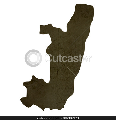 Dark silhouetted map of Congo stock photo, Dark silhouetted and textured map of Congo isolated on white background. by Martin Crowdy