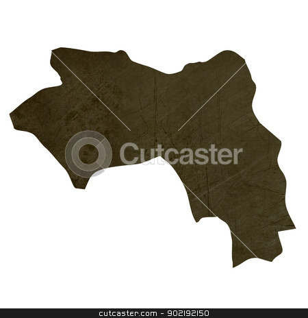 Dark silhouetted map of Guinea stock photo, Dark silhouetted and textured map of Guinea isolated on white background. by Martin Crowdy