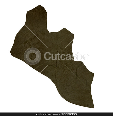 Dark silhouetted map of Liberia stock photo, Dark silhouetted and textured map of Liberia isolated on white background. by Martin Crowdy