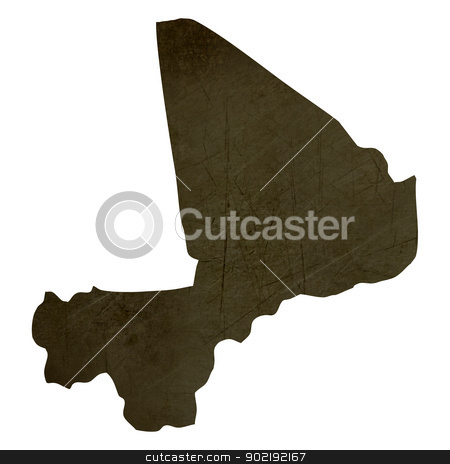 Dark silhouetted map of Mali stock photo, Dark silhouetted and textured map of Mali isolated on white background. by Martin Crowdy