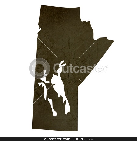 Dark silhouetted map of Manitoba stock photo, Dark silhouetted and textured map of Manitoba province of Canada isolated on white background. by Martin Crowdy