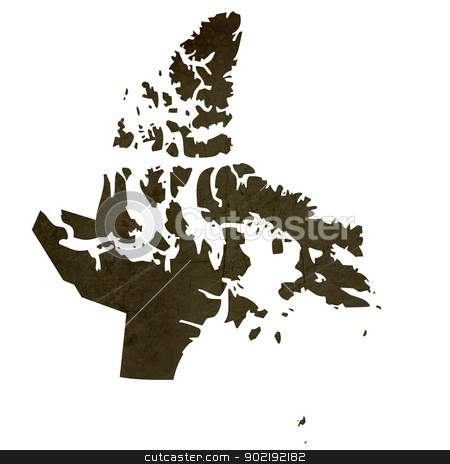 Dark silhouetted map of Nanavut stock photo, Dark silhouetted and textured map of Nanavut province of Canada isolated on white background. by Martin Crowdy