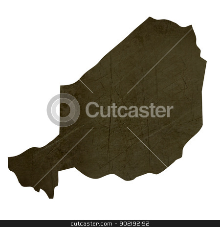 Dark silhouetted map of Niger stock photo, Dark silhouetted and textured map of Niger isolated on white background. by Martin Crowdy