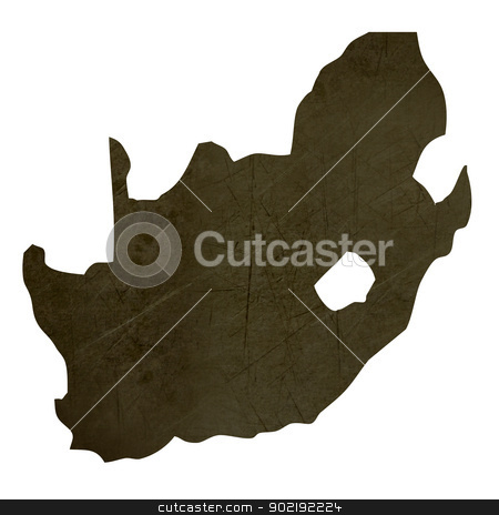 Dark silhouetted map of South Africa stock photo, Dark silhouetted and textured map of South Africa isolated on white background. by Martin Crowdy