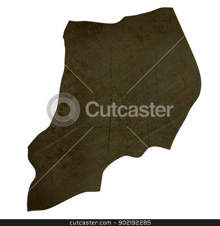 Dark silhouetted map of Uganda stock photo, Dark silhouetted and textured map of Uganda isolated on white background. by Martin Crowdy