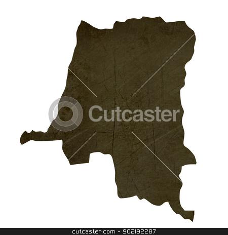 Dark silhouetted map of Zaire stock photo, Dark silhouetted and textured map of Zaire isolated on white background. by Martin Crowdy