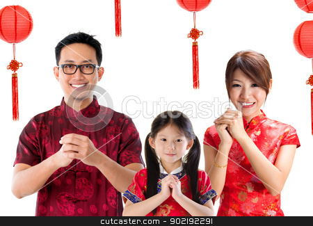 Chinese family greeting stock photo, Chinese family greeting, Chinese new year concept, isolated over white background. by szefei