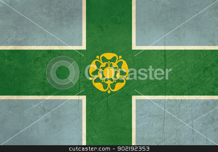Derbyshire County flag stock photo, Grunge illustration of Derbyshire County flag, United Kingdom. by Martin Crowdy
