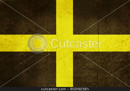 Flag of Saint David in Wales stock photo, Grunge illustration of Flag of Saint David, Wales. by Martin Crowdy