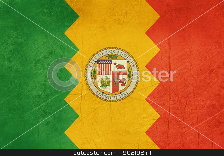 Los Angeles city flag stock photo, Grunge Illustration of Los Anglese city flag, California, U.S.A. by Martin Crowdy
