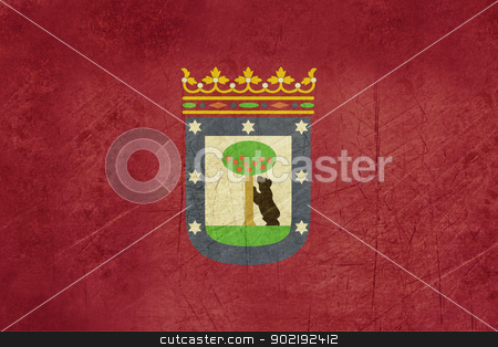 Madrid city flag stock photo, Grunge Ilustration of Madrid city flag, Spain. by Martin Crowdy