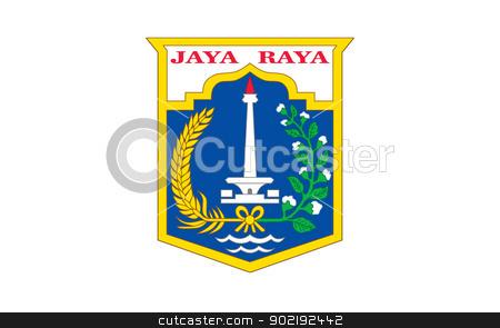 Jakarta city flag stock photo, Illustration of Jakarta city flag, Indonesia. by Martin Crowdy