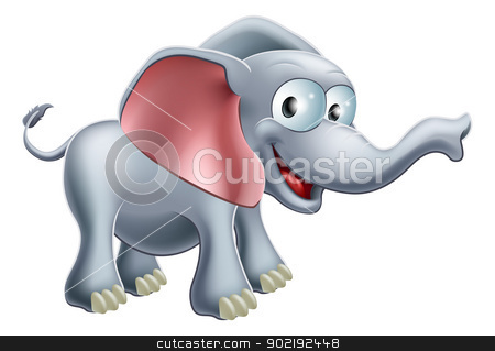 Cute Cartoon Elephant stock vector clipart, An illustration of a cute happy smiling cartoon elephant by Christos Georghiou