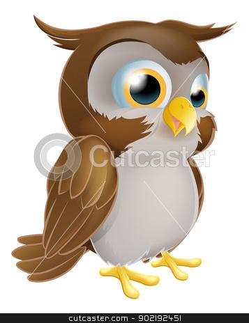 Cute Cartoon owl stock vector clipart, An illustration of a cute standing cartoon owl character by Christos Georghiou