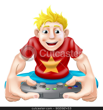 Happy gamer stock vector clipart, A cartoon drawing of a young gamer playing on his games console by Christos Georghiou