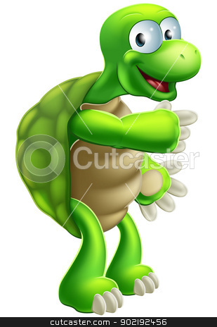 Cartoon Tortoise or Turtle pointing stock vector clipart, An illustration of a cute cartoon tortoise or turtle character pointing at something by Christos Georghiou