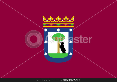 Madrid city flag stock photo, Ilustration of Madrid city flag, Spain. by Martin Crowdy