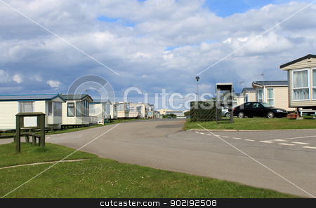 Mobile caravan or trailer park stock photo, Scenic view of mobile caravan or trailer park, Cayton Bay, Scarborough, England. by Martin Crowdy