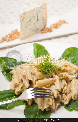 Italian pasta penne gorgonzola and pine nuts stock photo, Italian traditional pasta penne gorgonzola and pine nuts by Francesco Perre