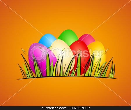 Easter stock vector clipart, easter background with eggs vector illustration by Miroslava Hlavacova