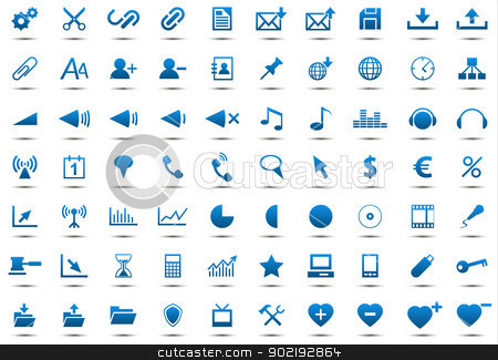 Set of blue icons stock vector clipart, Set of blue icons isolated on white background by kurkalukas