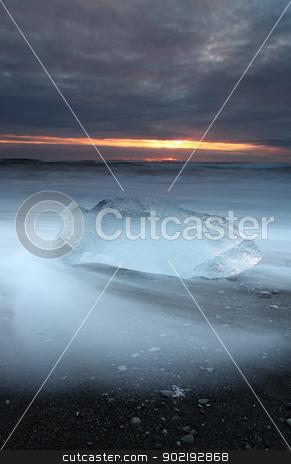 Iceburg Beach stock photo, Ice on vocanic black sand iceland beach at sunset by Ollie Taylor