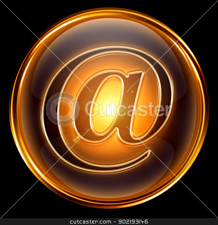 email icon gold, isolated on black background  stock photo, email icon gold, isolated on black background  by Andrey Zyk