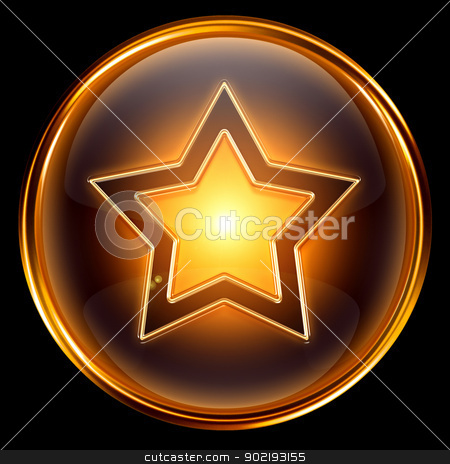 star icon gold, isolated on black background  stock photo, star icon gold, isolated on black background  by Andrey Zyk