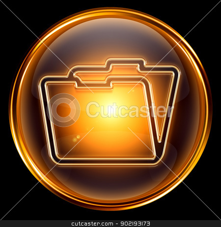 Folder icon gold, isolated on black background stock photo, Folder icon gold, isolated on black background by Andrey Zyk