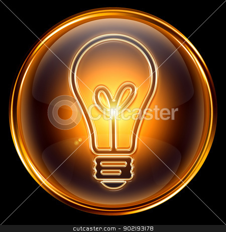 Bulb icon gold, isolated on black background stock photo, Bulb icon gold, isolated on black background by Andrey Zyk