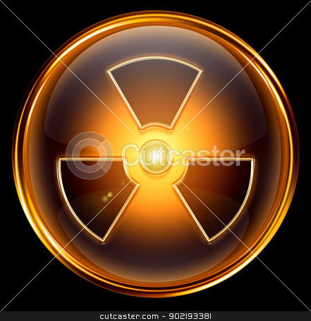 Radioactive icon golden, isolated on black background. stock photo, Radioactive icon golden, isolated on black background. by Andrey Zyk