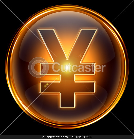 Yen icon golden. stock photo, Yen icon golden, isolated on black background by Andrey Zyk