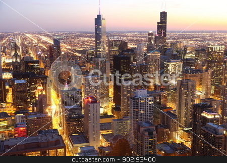 Chicago  stock photo, View to Downtown Chicago / USA from high above at twilight  by Achim Baque