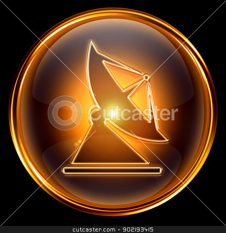 Antenna icon golden, isolated on black background. stock photo, Antenna icon golden, isolated on black background. by Andrey Zyk