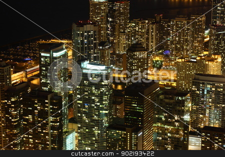 Chicago  stock photo, View to Downtown Chicago / USA from high above at night by Achim Baque