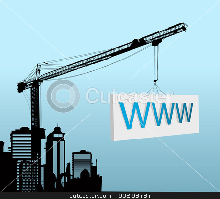 Under construction design stock vector clipart, Conceptual graphic with a large tower crane with www sign by Richard Laschon
