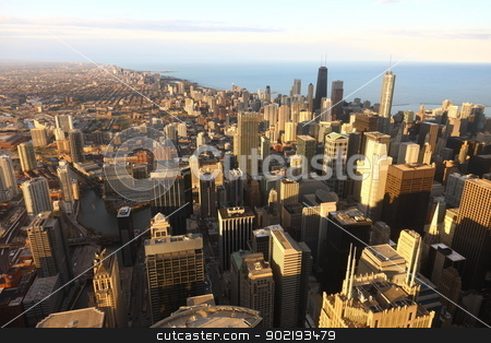 Downtown  stock photo, View to Downtown Chicago / USA from high above at sunset by Achim Baque