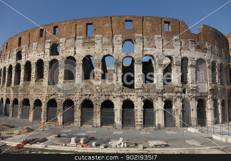 Colosseum stock photo, Colosseum in Rome on a cloudless day by Achim Baque